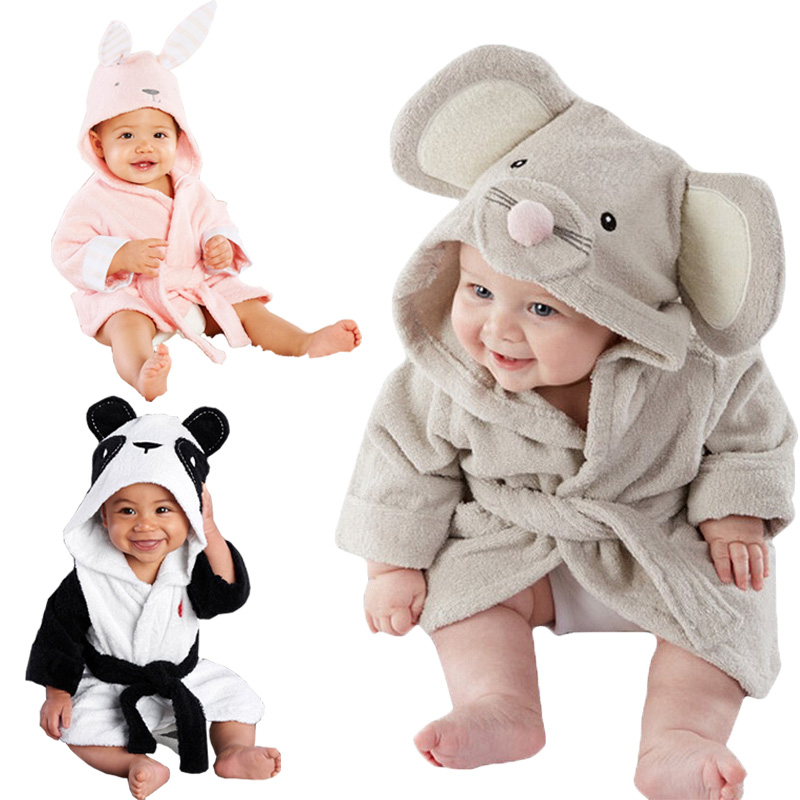 2019 Winter Warm Baby  Hooded Sleepwear Cute Cartoon Mouse/Panda/Bunny Animal Design1-5Y Infant Towel Coral Fleece Blanket Robes