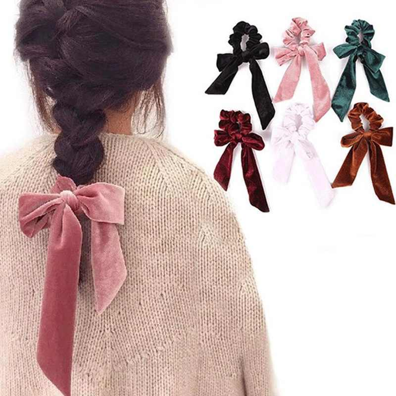 Girl Elastic Velvet Ribbon Bow Hair Tie Rope Lady Hair Band Scrunchies Ponytail