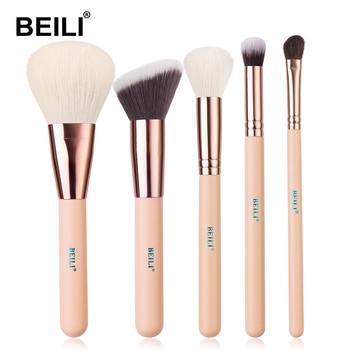 BEILI Matte Pink Makeup Brushes Set goat hair Powder Foundation Concealer Blush Eyeshadow rose gold natural hair Make up brushes 17