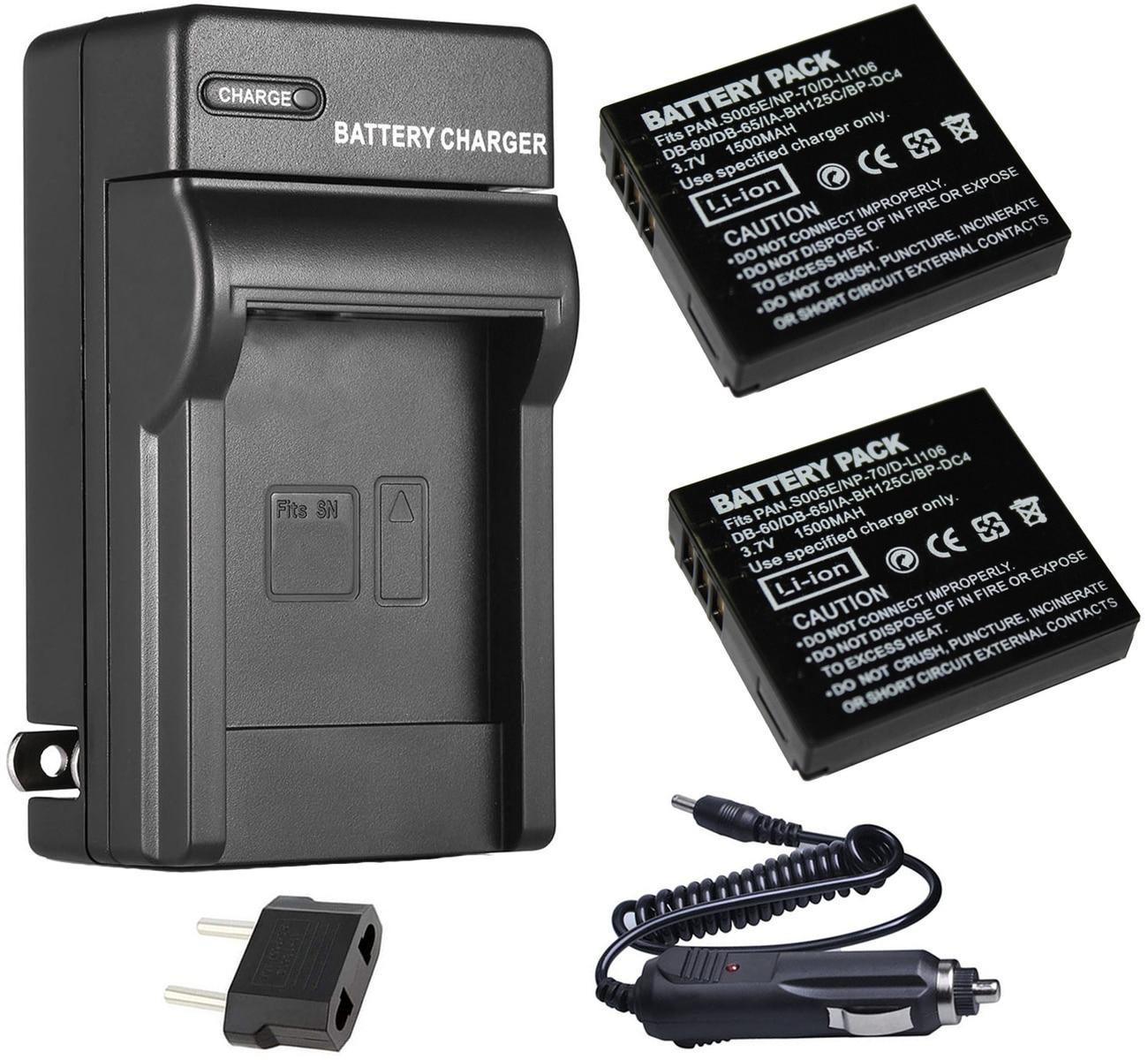 Аккумулятор (2 шт.) + зарядное устройство для Pentax D-Li106, DLi106 и Pentax MX-1, MX1, X-90, X90 цифровая камера