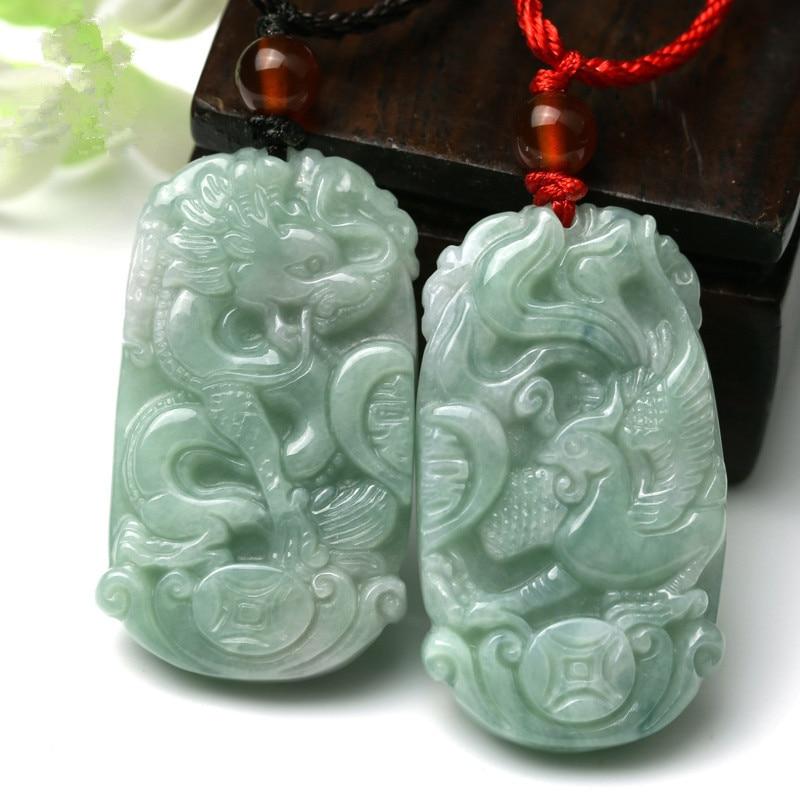 Pair Of Happy Lucky Dragon Phoenix Black Green Jade Amulet Pendant