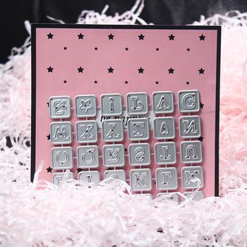 Małe kwadratowe litery metalowe wykrojniki dla DIY Scrapbooking papier do albumów robienie kartek ozdobne artykuły rzemieślnicze 2019 nowość tanie i dobre opinie List Small Square Letters Metal Cutting Dies 105*86 mm Carbon steel 30 letters