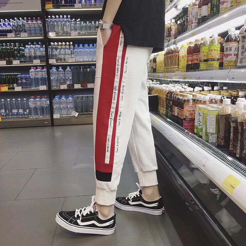 Summer MEN'S Casual Pants Men's Ankle Banded Pants Korean-style Harem Pants Capri Pants Loose-Fit Skinny Athletic Pants Legs Pan