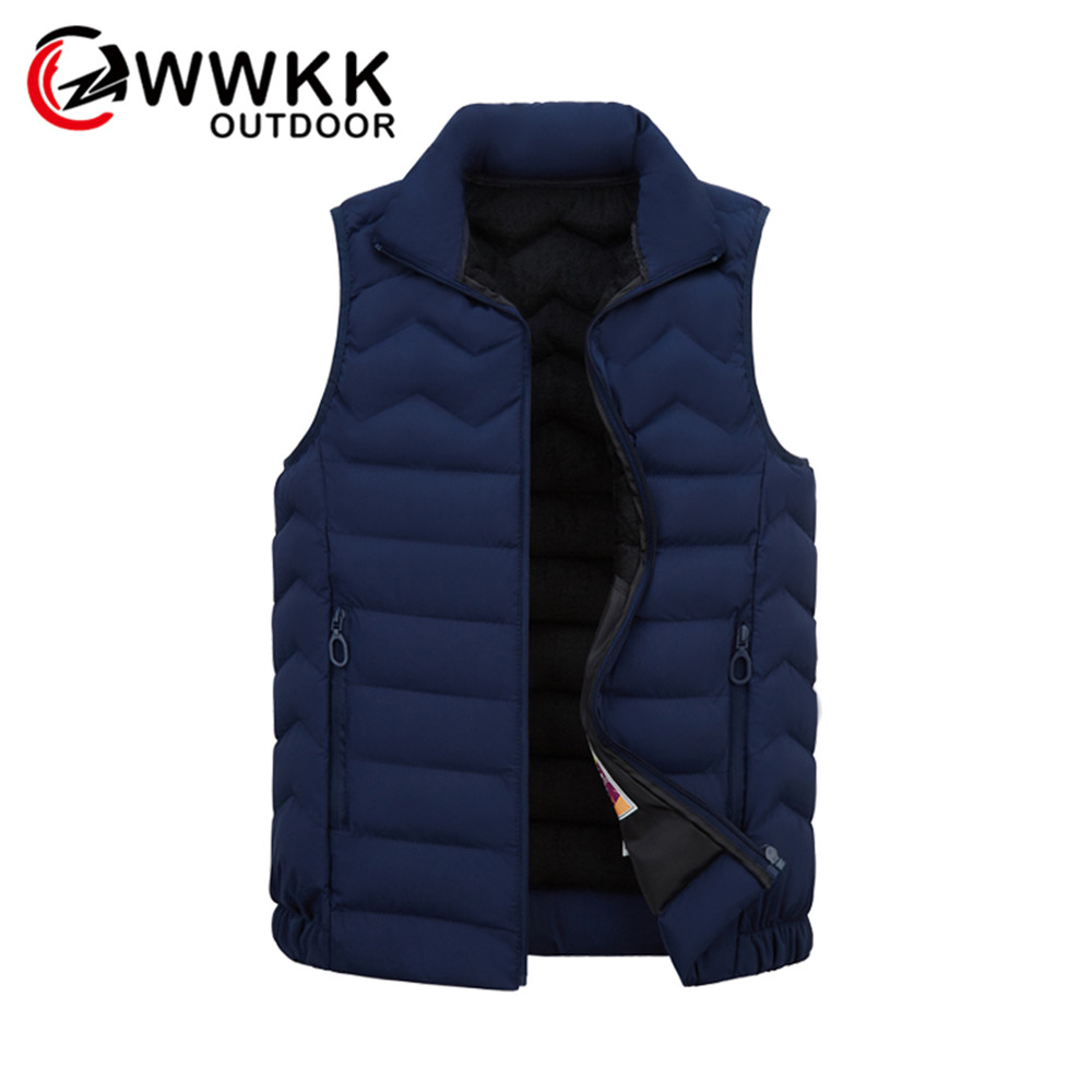 WWKK Outdoor Men Thermal Warm Clothing Feather Winter High Quality Jackets Vest Sleeveless Trekking Hiking Vests Hiking Climbing