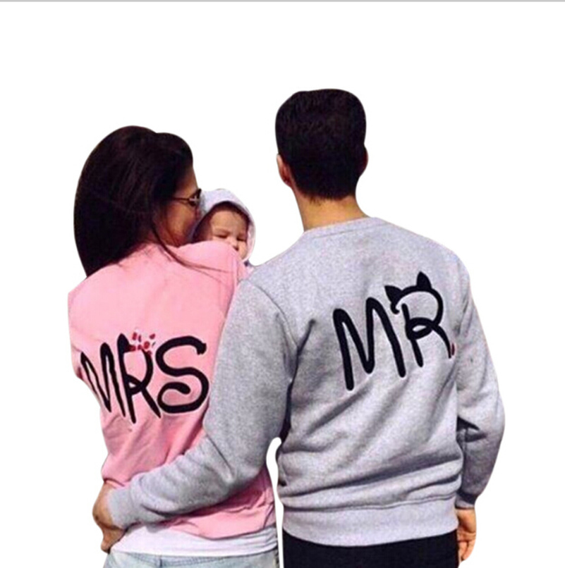 Letter MRS Mr Hoodies Sweatshirts 2019 Women Casual Kawaii Harajuku Pink New Sweat Punk Gray Clothing European Tops