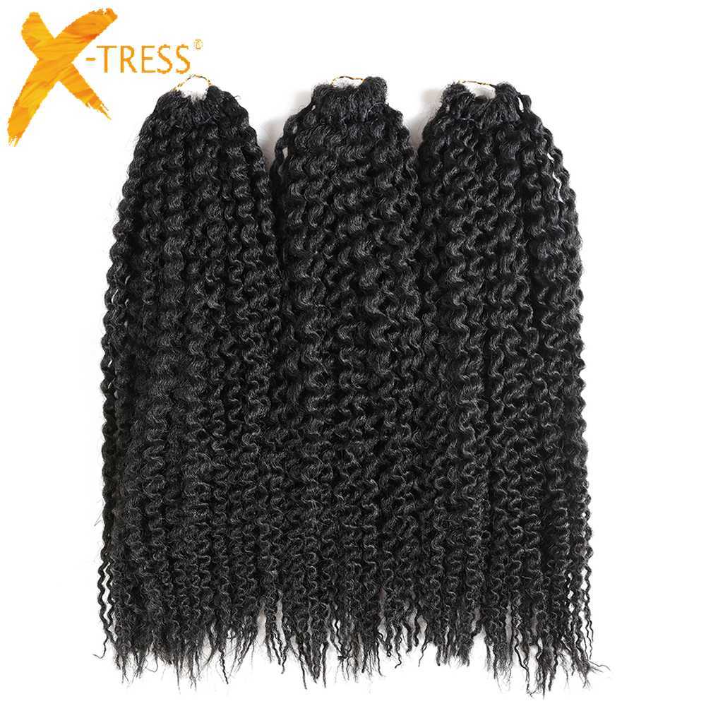 Synthetic Freetress Water Wave Crochet Braiding Hair Pre-loop Island Twists Unraveled Braids Curly Hair X-TRESS 16inch 3 Pieces