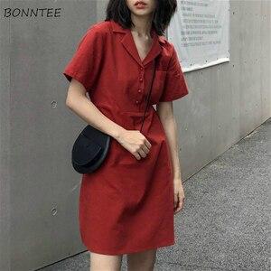 Sukienka damska Retro czerwona linia francuska prosta elegancka, z guzikami z krótkim rękawem College Girls sukienki letnia modna wakacyjna Femme Streetwear