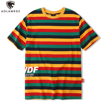 Aolamegs T Shirt Men Colorful Hit Color Striped Print Men's Tee Shirt Cotton O-Neck Cozy High Street Slim Fashion Streetwear men striped print o ring zip front tee