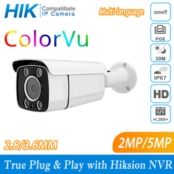 Hikvision protocl 2mp/5mp colorvu completo noite câmera de rede plug and play com hikvision nvr multi-idioma poe câmera p2p ipc