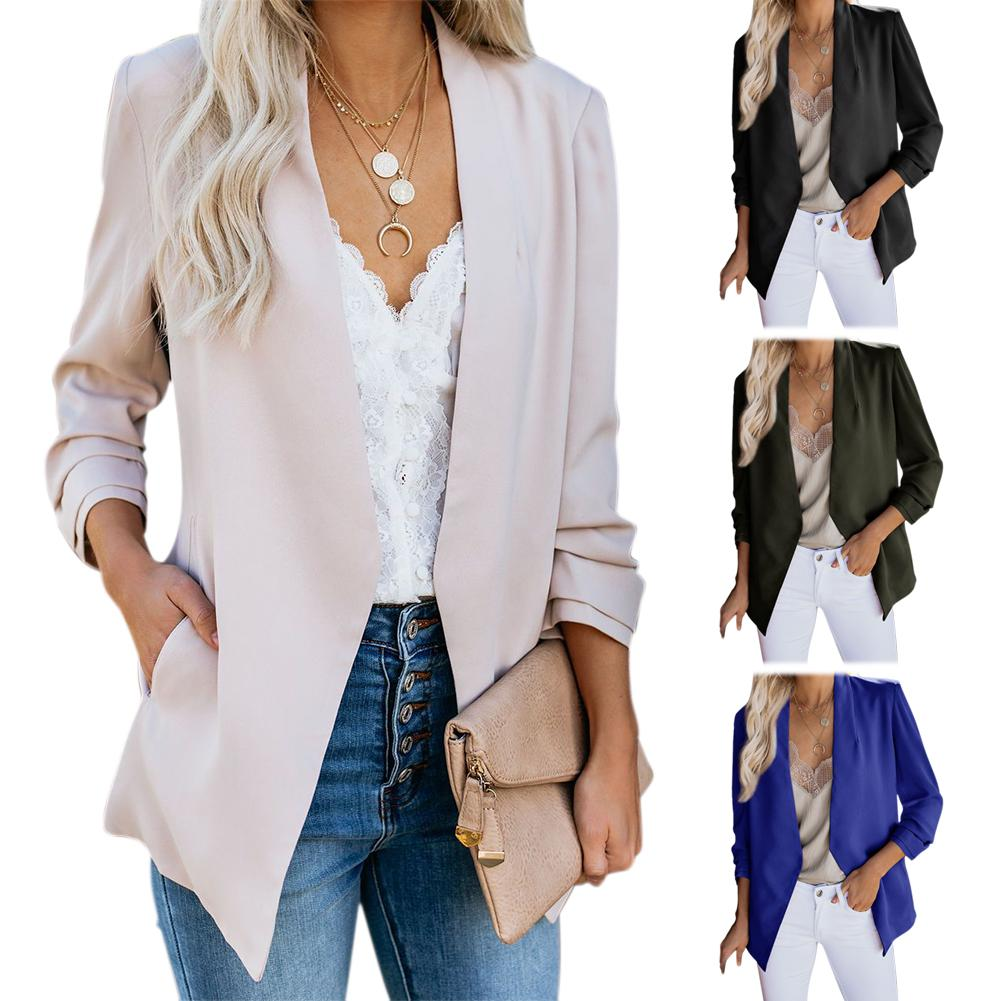 Chic Lady Solid Color Long Sleeve V Neck Casual Coat Top Plus Size Tailored Suit