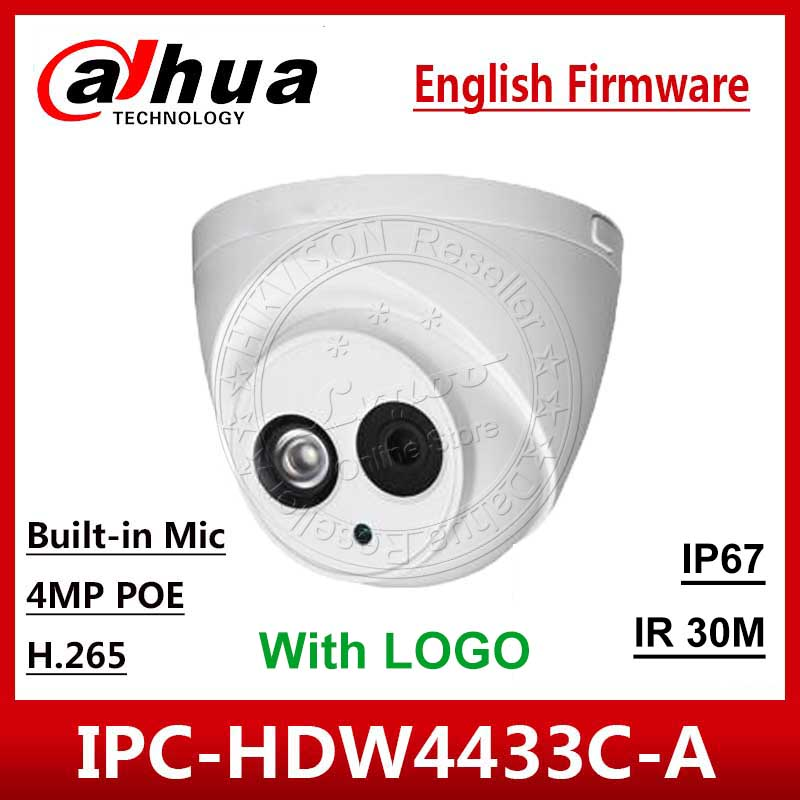 DaHua Original IPC-HDW4433C-A replace IPC-HDW4431C-A POE outdoor Network IR Mini DomeBuilt-in Mic 4MP CCTV Camera with logo