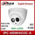DaHua оригинальный IPC-HDW4433C-A заменить IPC-HDW4431C-A POE Открытый сетевой ИК Мини DomeBuilt-in Mic 4MP CCTV камера с логотипом