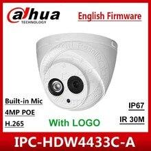 DaHua המקורי IPC HDW4433C A להחליף IPC HDW4431C A POE חיצוני רשת IR מיני DomeBuilt בmic 4MP CCTV מצלמה עם לוגו