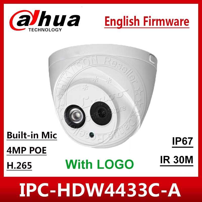 DaHua Original IPC-HDW4433C-A Replace IPC-HDW4431C-A POE Outdoor Network IR Mini DomeBuilt-in Mic 4MP CCTV Camera With Logo