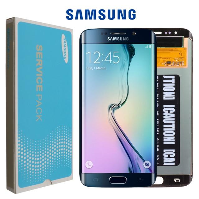 מקורי 5.1 החלפת סופר AMOLED תצוגה עבור SAMSUNG Galaxy s6 קצה G925 G925F G925I LCD Digitizer עצרת עם מסגרת