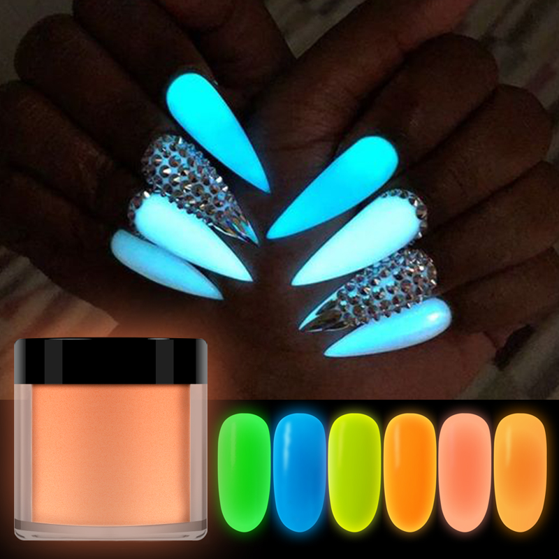 RIKONKA 10ML  Glow In Dark Nail Art Dipping Powder Neon Phosphor Acrylic Powder For Carving Extension Luminous Pigment Nails