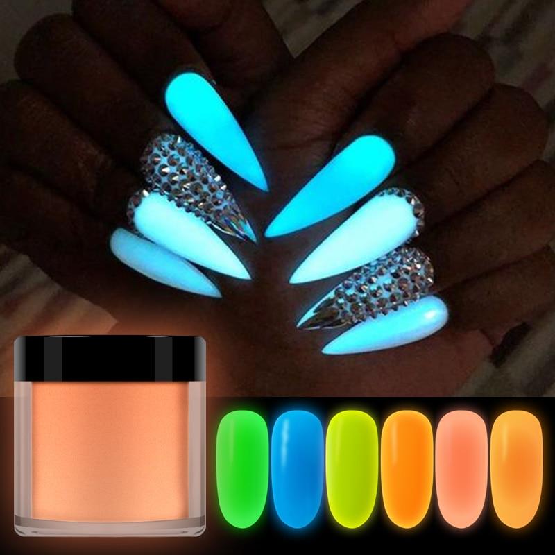 RIKONKA 10ML  Glow In Dark Nail Art Dipping Powder Neon Phosphor Acrylic Powder For Carving Extension Luminous Pigment Nails