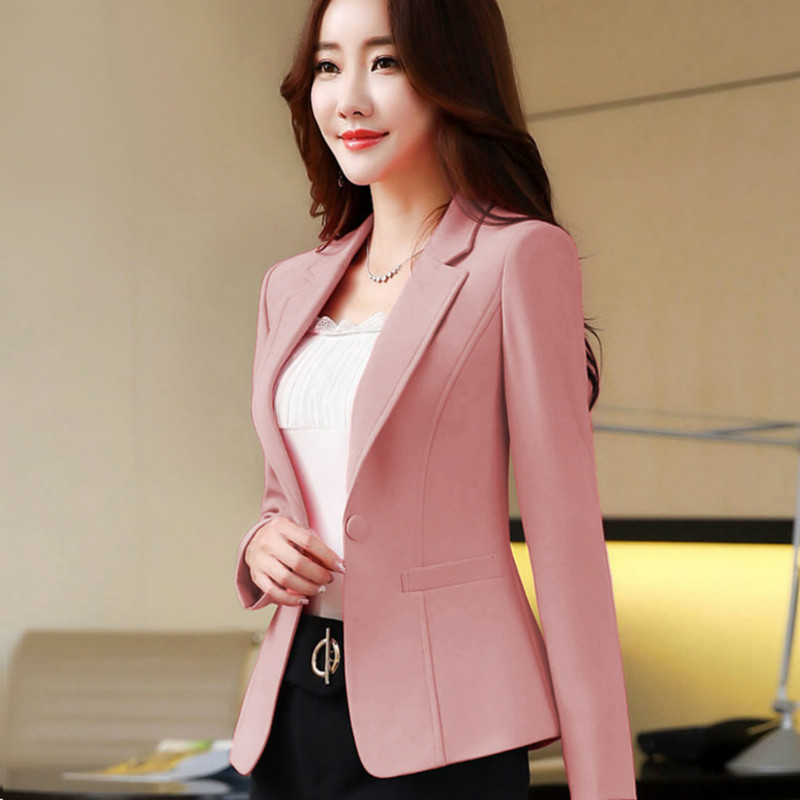 Women's Single Suit New Long-sleeved Fashion Casual Ladies Jacket Short Work Suit Temperament Wild Women's Clothing