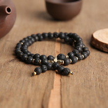 YOUKIAA Volcanic Stones Bracelets 6mm Beaded Bracelet 54 Mala Bead Nature Stone Bangles Yoga Prayer Buddhism