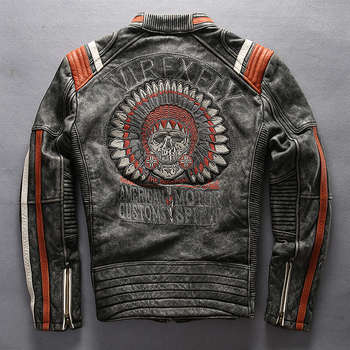 A1627 Read Description! Asian size mans genuine cow leather rider jacket embroidery leather motorcycle cowhide leather jacket m65 0003 read description asian size duck feather super warm m51 m65 parka jacket lining