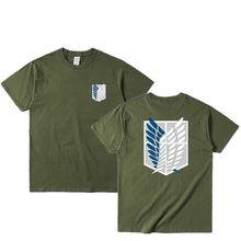 Japonês anime t camisa scouting legion roupas shingeki nenhum kyojin t camisa ataque em titan gigante de manga curta t-shir masculino