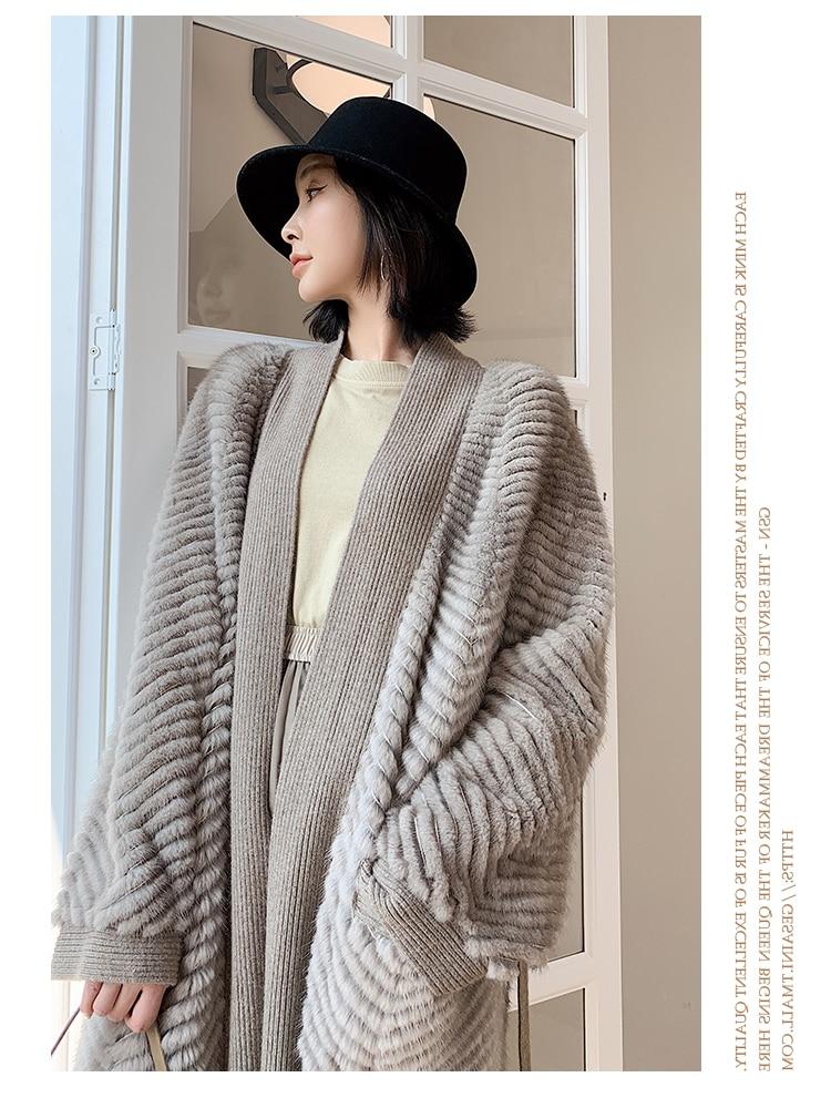 H546a3341d29b4af1b538d03af24ea2ccq HDHOHR 2021 New High Quality Natural Mink Fur Coat Women With Belt Knitted Real MinkFur Jacket Fashion Warm Long For Female