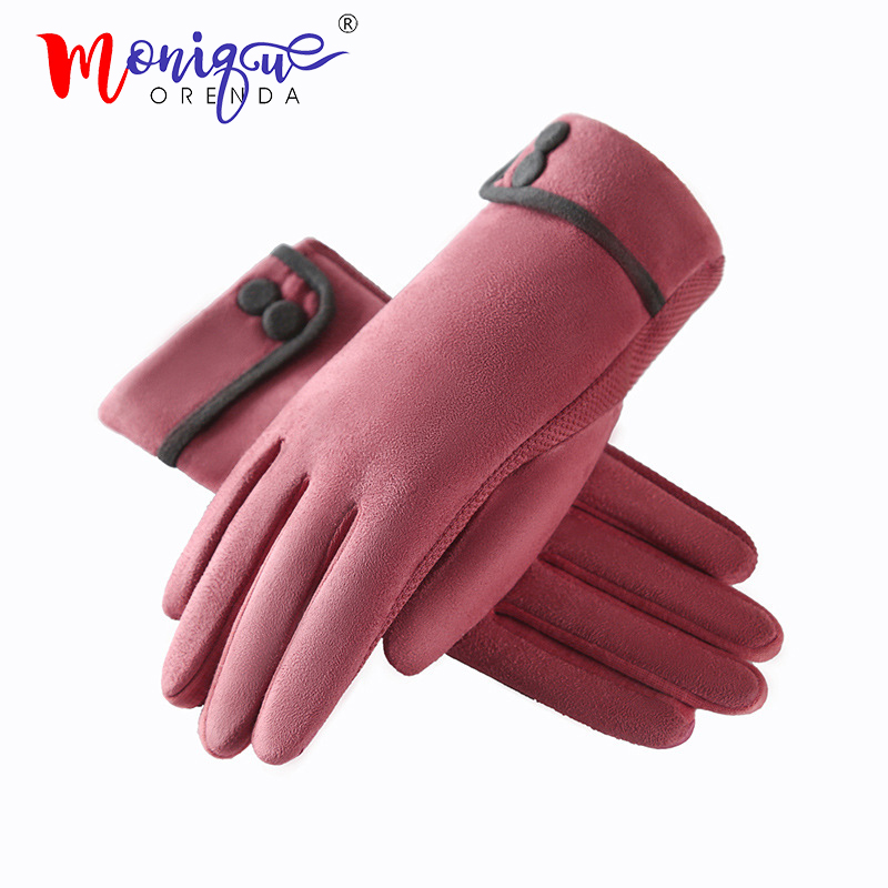 2019 Suede Gloves Ladies Cute Tide Button Simple Autumn And Winter Windproof Warm Plus Velvet Gloves