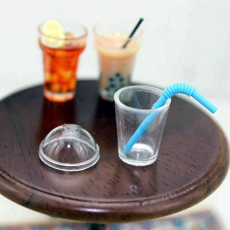 5pcs Xícaras De Chá De Leite Palhas DIY Mini Comida Casa De Bonecas Em Miniatura Artesanato Jóias Encantos Talheres Ferramentas de Simulação Siwan