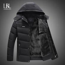 New Men Jacket Coats Thicken Fur Fleece Warm Winter Windproof Jackets Casual Mens Down Parka Hooded Outwear Cotton-padded Jacket