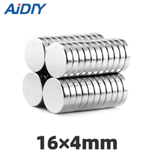 AI DIY 10/50/100 Pcs 16 x 4mm N35 Small Round Neodymium Magnet For Multi-Use Strong Rare Earth Magnets Disc Diameter 16*