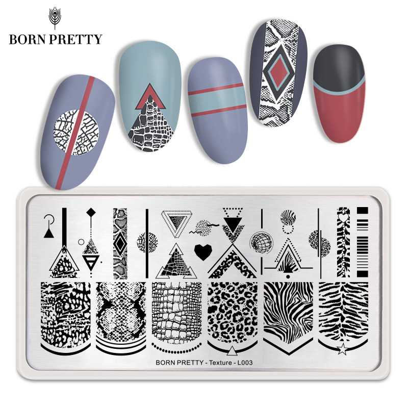 BORN PRETTY Texture Nail Stamping Plates Leopard Autumn Rectangle Theme Nail Art Image Print Stamping Template Leaves Stencil