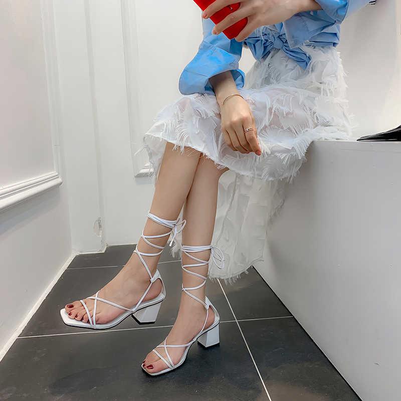 WETKISS gladyatör sandalet çapraz kayış sandalet kadın 2020 rahat ayakkabılar kadın açık ayak yaz sandalet kalın topuklu Med ayakkabı bayanlar