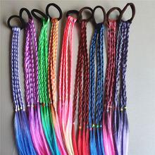 3 sztuk zestaw Rainbow kolorowe warkocz pasma włosów dla dzieci Ornament Hairbands gumką z pałąkiem na głowę Scrunchie Girls Hair Accessories tanie tanio abay CN (pochodzenie) Ze stopu cynku Moda Akrylowe Kobiety Śliczne Romantyczny Hairwear H1157 FEATHER
