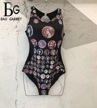 Baogarret 2019 Summer Designer Sexy Black Bikinis Bodysuits Women's Vintage Character Print Bodycon Bodysuits Monokini May цена