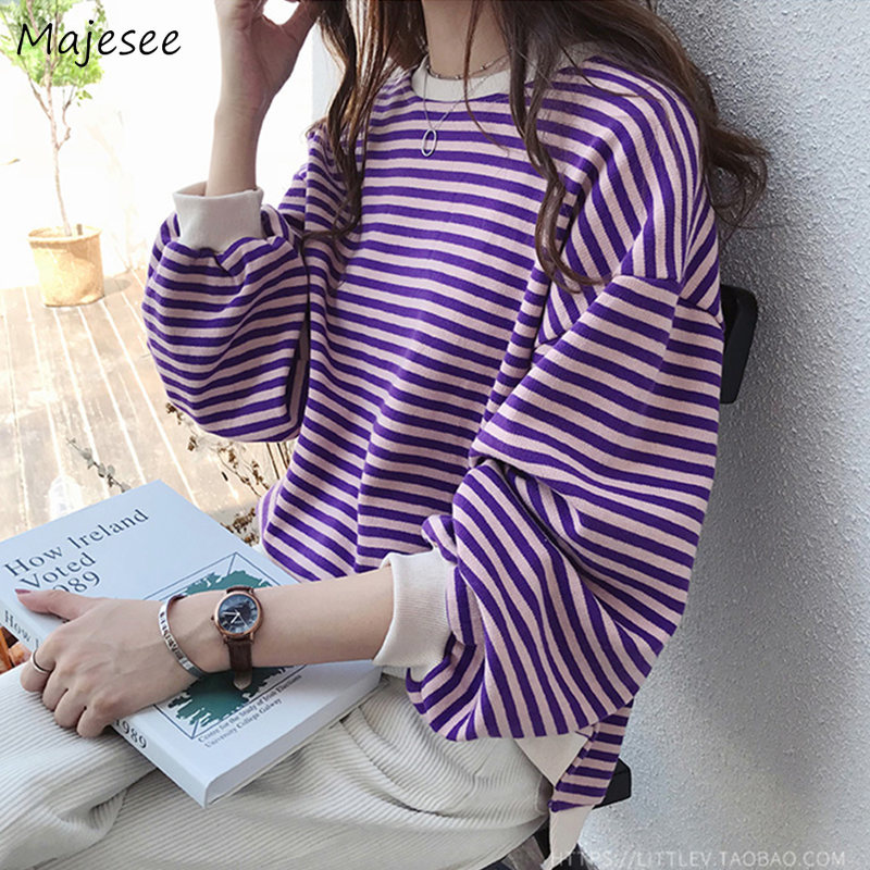 Hoodies Women Sweet Purple Simple Striped O-Neck Oversize Sweatshirt Womens Ulzzang Korean Style Harajuku Spring Autumn Casual