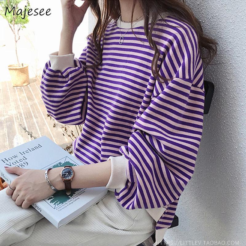 Hoodies Women Sweet Purple Simple Striped O-Neck Oversize Sweatshirt Womens Ulzzang Korean Style Harajuku Spring Autumn Casual