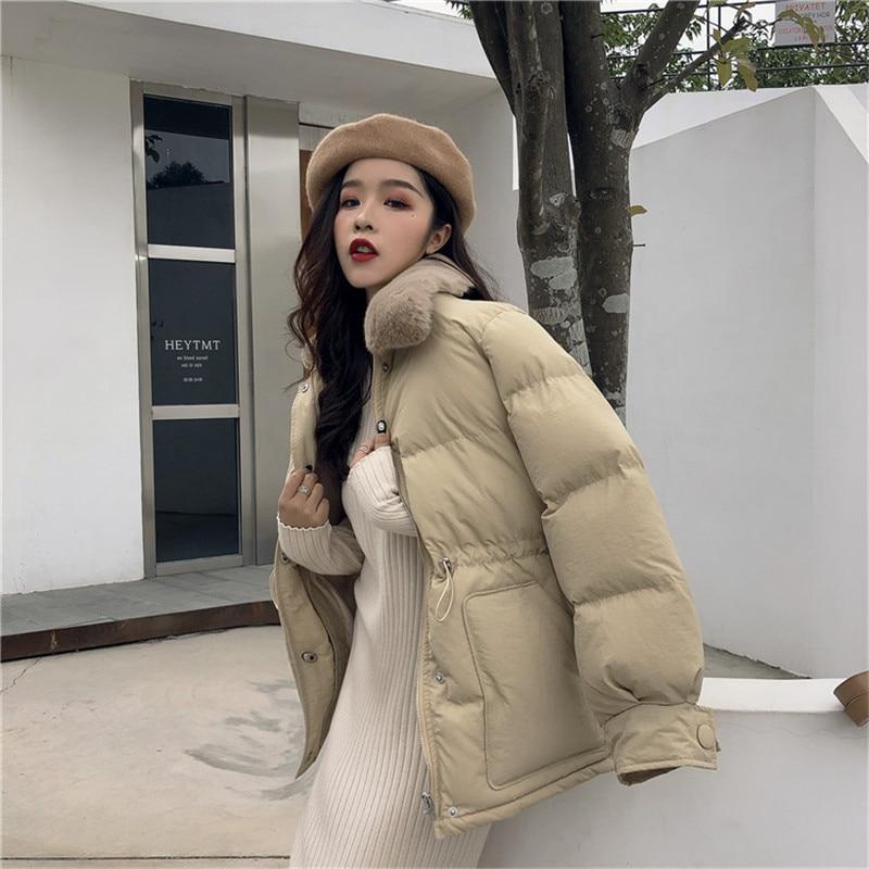 Alien Gattino Delle Donne di Modo Coreano Parka 2019 Inverno Del Coniglio Del Faux Collo di Pelliccia di Spessore Imbottito Giacca Cappotto Signora Caldo Chamarras De mujer