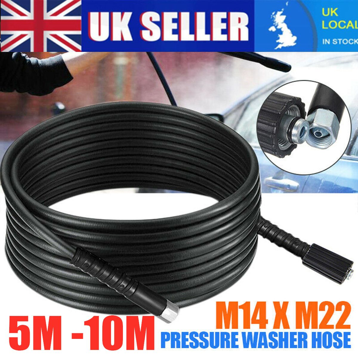 10 meters 5800PSI High Pressure Washer Hose Cord Pipe Car Cleaner Water Cleaning Extension Hose Water Hose M14 M22 Connector