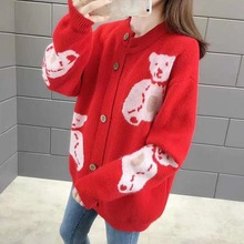 Kawaii Bear Print Knitted Cardigan Women Casual Single Breasted Jumper 2019 Autumn Winter Loose Sweater Tops Femme bear print buttoned knitted cardigan