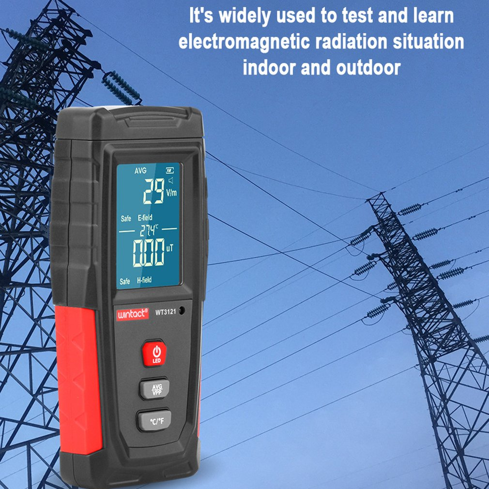 WT3121 Handheld Digital LCD EMF Meter Electromagnetic Radiation Tester Electric Field Magnetic Field Dosimeter Detector