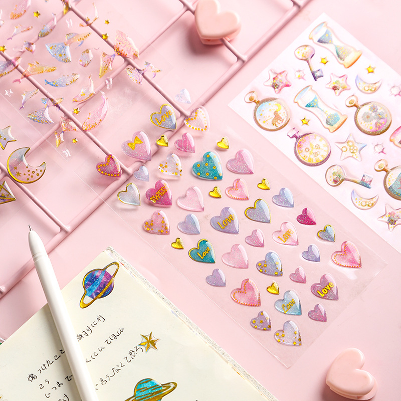 Fantasy Epoxy Crystal Kawaii Cute Sticker Bullet Journal for DIY Diary Scrapbooking Planner Stickers