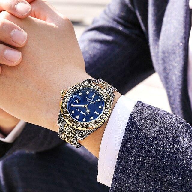 Men's GOLDENHOUR Brand  Watch, Top Luxury Creative Quartz classic Watches for Men Stainless Steel Watch 4