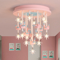 36W Blue Pink Kids Ceiling Light Children Child Room Resin Horse Paper Crane Princess Girl Boy Cute LED Bedroom Ceiling Lamp G4
