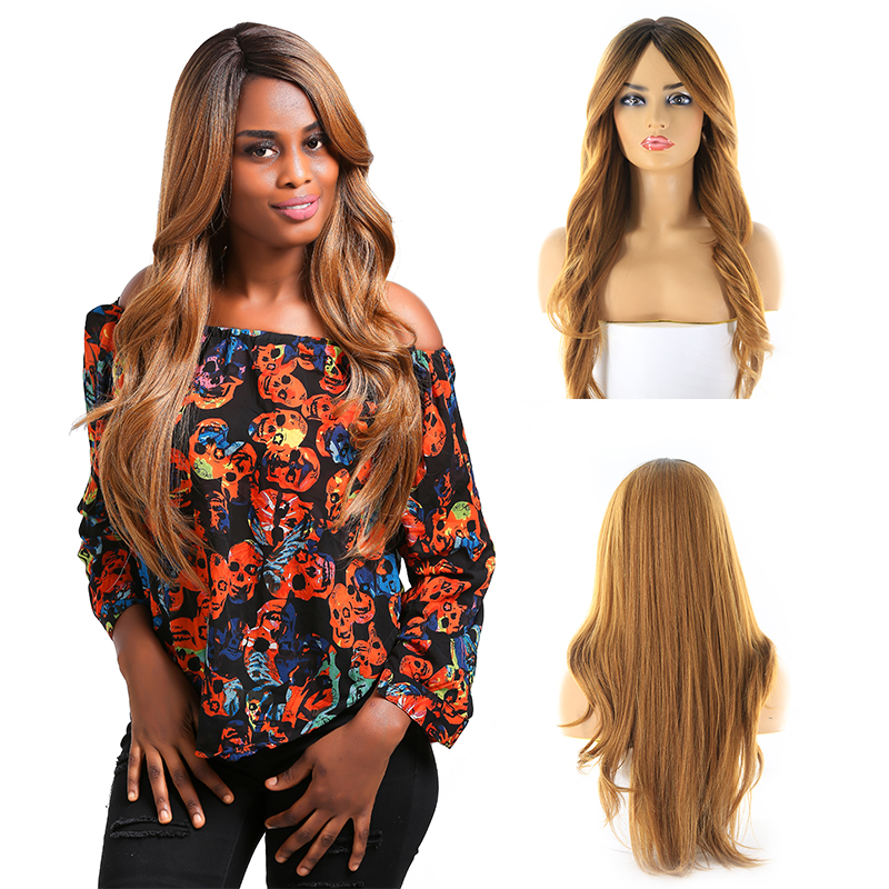 Brown Blonde Synthetic Hair Wigs Straight Long Lace Wig With Bangs Side Part Heat Resistant Black Women Hair Wig SOKU