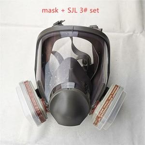 Image 1 - 6800 Gas Mask add SJL 3# Cartridge  7pcs suit Full Face Facepiece Respirator For Painting Spraying same 3M 6800
