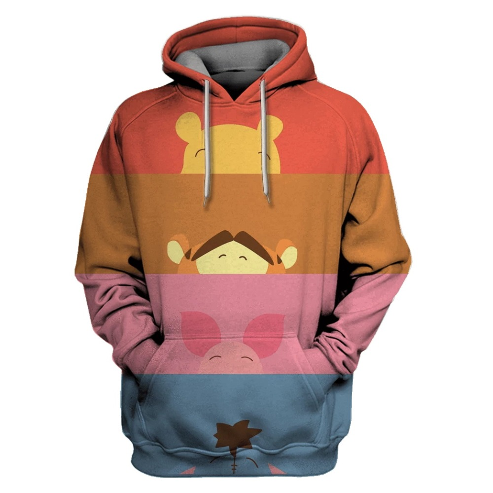 Liumaohua New Men Hoodies Cute Winnie The Pooh Full Printed 3d Hooded Sweatshirt Unisex Streetwear Sudadera Hombre
