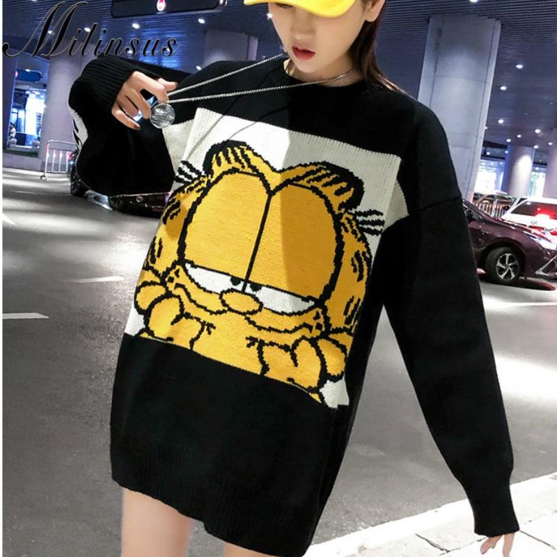 New Korean Garfield Women Sweater Cartoon Cute Loose Pullover Autumn Winter Fashion Girl Clothes Tops Female Knit Sweater 2019