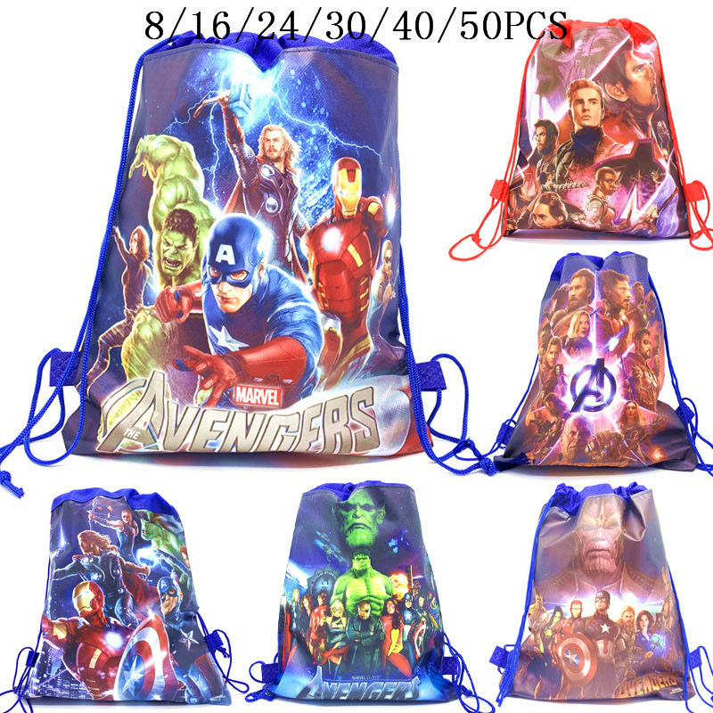 8/16/24/50PCS The Avengers Thor Iron Man Birthday Party Gifts Non-woven Drawstring Bags Kids Boy Favor Swimming School Backpacks