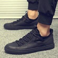 Men Black White Leather Shoes Men Flats Hot Sale Moccasins