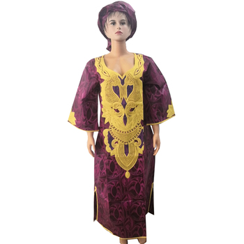 MD african womens dress traditional dresses for women embroidery maxi with headtie clothes